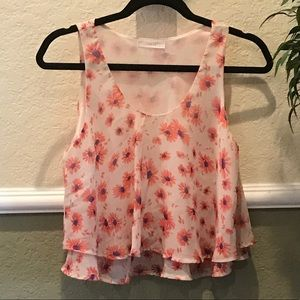 LUSH FLORAL LINED SLEEVELESS TOP